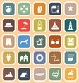 Beach flat icons on orange background vector image