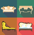 Bedroom home decoration icon set flat style Digita vector image
