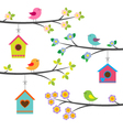 Birds and birdhouses vector | Price: 1 Credit (USD $1)