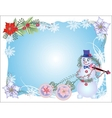 Blue Christmas Background with Snowman and Balls vector image