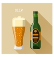 bottle and glass beer in flat design style vector image