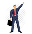 businessman with briefcase pointing up vector image vector image