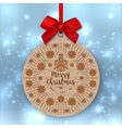 Christmas card Kraft paper gift tag Red bow vector image