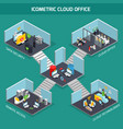 cloud office isometric composition vector image