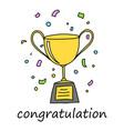 congratulation trophy vector image