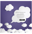 Dark blue sky with white cloud speech vector image vector image