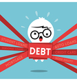 Debt concept cartoon a man wrapped up in red tape vector image vector image