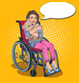 disabled handicapped girl in wheelchair pop art vector image vector image