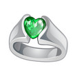 exclusive ring made of white gold with inlaid vector image