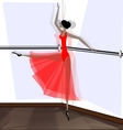 exercising of ballet dancer in red vector image vector image