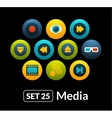 Flat icons set 25 - media collection vector image vector image