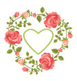 floral card with roses and heart vector image vector image