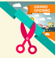 Grand Opening Title with Scissors and Town vector image