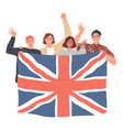 group people are holding british flag vector image