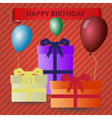 happy birthday red theme with gifts and balloons vector image