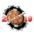 happy new year 2019 and handball ball vector image