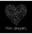 Heart from stylish hand drawn fashion items vector image