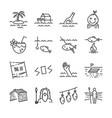 island survival line icon set vector image vector image