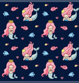 little mermaids with pink hair seamless pattern vector image