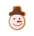 merry christmas snowman gingerbread cookie icon vector image