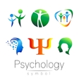 Modern head sign Set of Psychology Profile Human vector image vector image