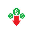 money dollar down arrow falling finance graphic vector image vector image