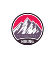 mountains hiking extreme sport - concept badge vector image vector image