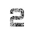 number two symbol 2 textured font grunge design vector image vector image