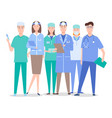 otolaryngologists surgeons and assistants with vector image vector image