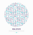 real estate concept in circle with thin line icons vector image vector image