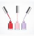 realistic detailed 3d color nail polish set vector image vector image