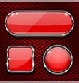 red glass 3d buttons with chrome frame on metal vector image