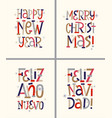 retro new year and christmas english and spanish vector image vector image