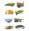 Road landscapes symbols for transportation design vector image vector image