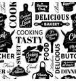 seamless cooking pattern vector image vector image