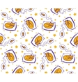 Seamless pattern with ginger cat dreaming of fish vector image