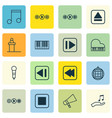 set of 16 audio icons includes dance club vector image vector image