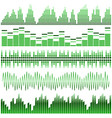 set of green sound waves vector image vector image