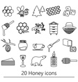 set of honey theme black outline icons eps10 vector image vector image