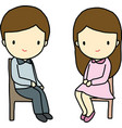 Sitting Boy and Girl vector image