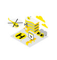 smart city helicopter helipad data infrastructure vector image