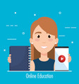 student using smartphone electronic education vector image