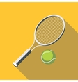 Tennis racket and ball icon flat style vector image