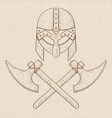 viking axes and helmet hand drawn sketch vector image vector image