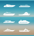 white ship and boats icons collection vector image vector image