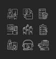 workshop chalk white icons set on black background vector image vector image