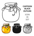 jar of honey icon in cartoon style isolated on vector image