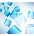 abstract background falling blue cubes vector image vector image