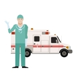 Ambulance and a Doctor vector image vector image