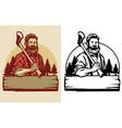 bearded lumberjack mascot hold axe vector image